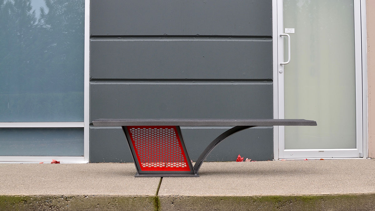 City Scape Straight Park Bench Wishbone Site Furnishings