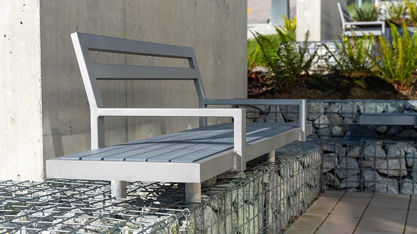 Custom Skyline Gabian Wall Bench