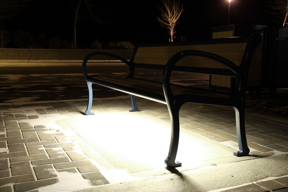 mountain classic bench with led lighting in peachland bench lighting