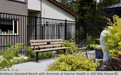 Wishbone Standard Memorial Bench with Armrests at Interior Health in 100 Mile House BC (1)