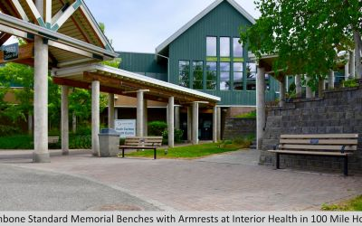Wishbone Standard Memorial Benches with Armrests at Interior Health in 100 Mile House BC (1)