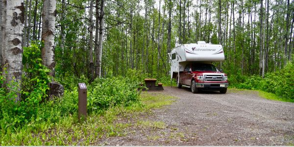 Campsite-Markers-at-Tyhee-Lake-Provincial-Park-near-Smithers-BC