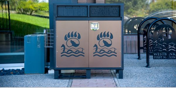 Custom Door Panels on Modena 2 Stream Waste and Recycling Station for Westbank First Nations