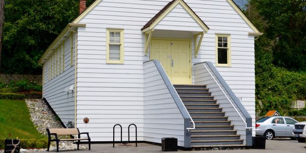 Kingsey-Bench-and-Surf-Bike-Rack-at-the-Chapel-By-the-Sea-Heritage-Hall-in-White-Rock-BC