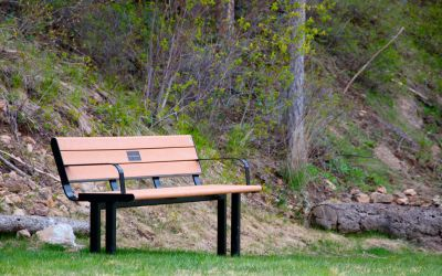 Larson-Park-Bench-with-Dirrect-Burial-Legs-at-Predator-Ridge-near-Vernon-BC