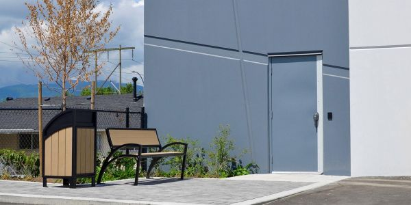 Modena-Curved-Top-Waste-Receptacle-and-Modena-Park-Bench-at-Riverwood-Business-Park-in-Port-Coquitlam-BC