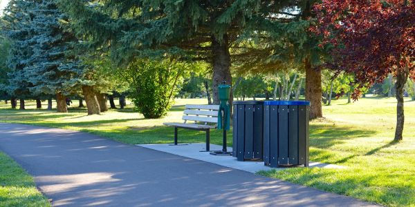 Re-plast Park Series Waste Receptacles and Wishbone Standard Bench at the City of Calgary Lakeview Golf Course