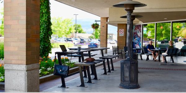 Wishbone Bistro Bench Table Combo at Orchard Plaza in Kelowna BC