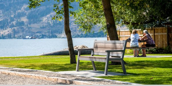 Wishbone Rutherford Angled Leg Bench at Lakeshore Park in Vernon BC (1)
