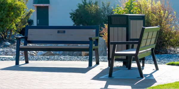 Wishbone Rutherford Benches and Beselt Square Top Waste Receptacle in Oliver BC
