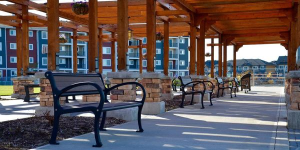 Wishbone--5-ft-Mountain-Classic-Benches-at-Chappelle-Gardens-Subdivision-in-Edmonton-Alberta-(1)