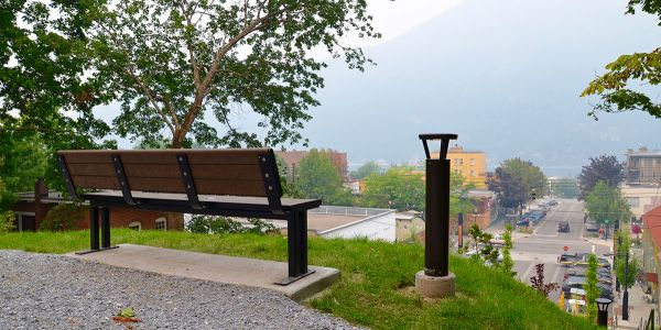 Wishbone-Larson-Park-Bench-Rear-View-in-Nelson-BC
